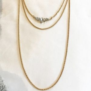 Jewelry - NWOT 3 strand gold necklace with stones